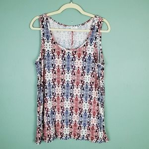 Rose + Olive Sleeveless Red Blue White Top Size XL